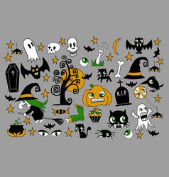 Set of halloween element patches pumpkin vector