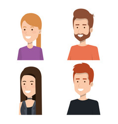 Set of style young people smiling portrait vector