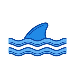shark fin above water line icon vector image vector image