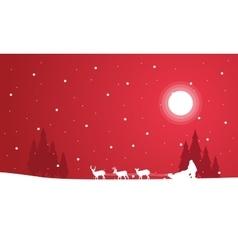 Silhouette of train santa scenery vector