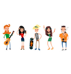 Six teenager set vector