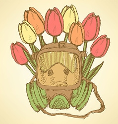 Sketch respiratory mask with tulips vector
