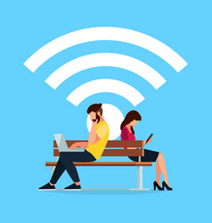 wi-fi concept couple young people on the bench vector image vector image