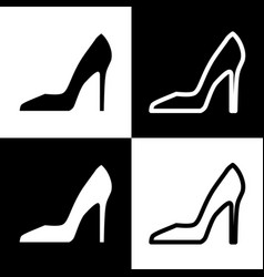 Woman shoe sign black and white icons and vector