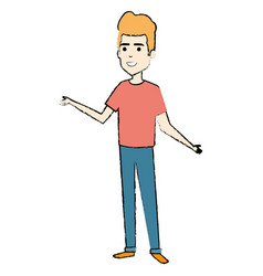 young man standing avatar character vector image
