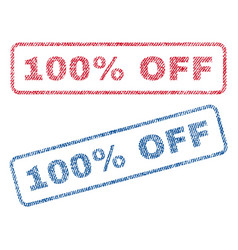 100 percent off textile stamps vector