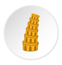 Leaning tower of pisa icon cartoon style vector
