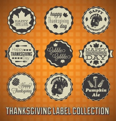 Happy thanksgiving labels and icons vector