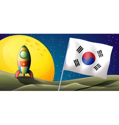 The flag of korea near an airship vector