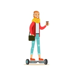 Hipster With Coffee Paper Cup Riding Electric Self vector image