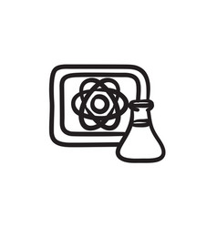 Atom sign drawn on board and flask sketch icon vector