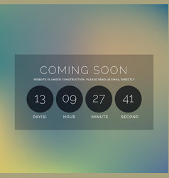 Blurred background with coming soon text and vector