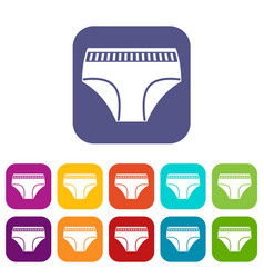 Woman cotton panties icons set flat vector