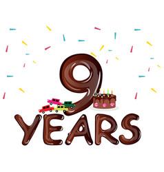 Nine years anniversary celebration card vector