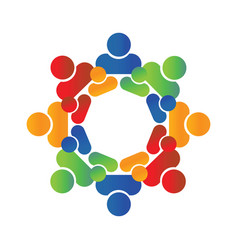 People logo round circle of group vector