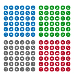 Flat rounded square icons vector image