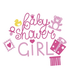 Baby shower design for girl vector