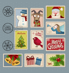 Postage stamps for Christmas vector image