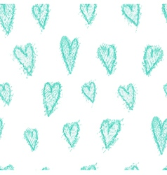 Seamless pattern - hand drawn azure hearts vector