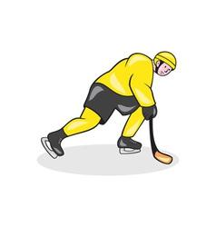 Ice Hockey Player With Stick Cartoon vector image