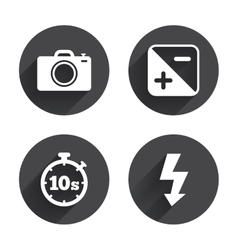Photo camera icon flash light and exposure vector