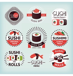 Set of various sushi labels vector