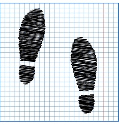 Imprint soles shoes icon with pen effect on paper vector