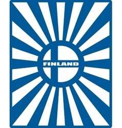 Finland flag on sun rays backdrop vector
