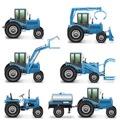 Agricultural tractor set 2 vector