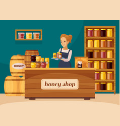 Apiary beekeeper honey shop cartoon vector