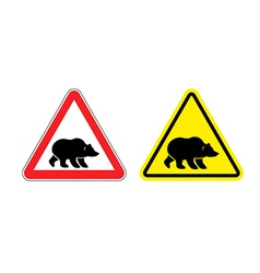 Attention bear warning sign Hazard yellow sign vector image