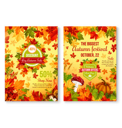 Autumn of fall seasonal sale and discount promo vector