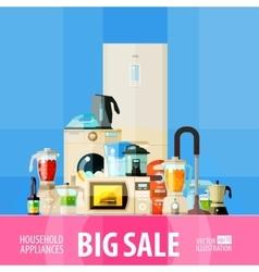 Big sale set of elements - refrigerator washing vector