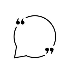 Black quotation marks with thin line speech bubble vector