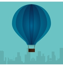 Blue airballoon with city turquoise background vector