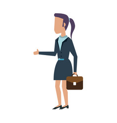Business woman with briefcase vector
