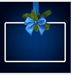 christmas background with blue bow vector image vector image