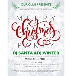 christmas party poster with lettering vector image vector image
