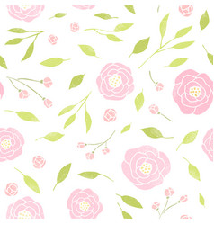 Cute peony and leaves background vector