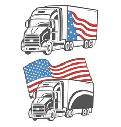 emblem with heavy truck isolated on white vector image vector image
