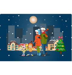 family winter city landscape merry christmas vector image vector image