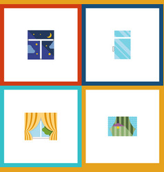 flat icon glass set of frame curtain clean and vector image