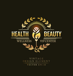 Gold retro badge of the health and beauty vector