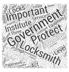 Government Locksmiths Word Cloud Concept vector image vector image