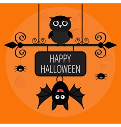 Happy Halloween card Bat hanging on wrought iron vector image vector image