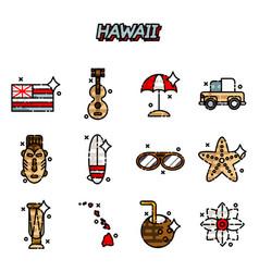Hawaii flat icons set vector