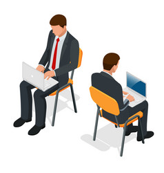 isometric man in suit sitting with a laptop on his vector image vector image