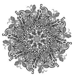 mandala White background Black ornament vector image