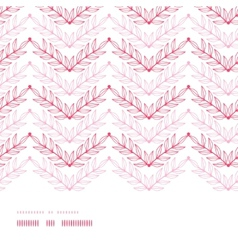 Pink lineart leaves chevron horizontal frame vector