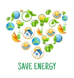 Renewable energy symbols shaped as heart vector image vector image
